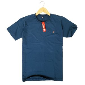 Camiseta Básica Masculina Algodão Azul Escuro Bamborra