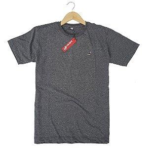 Camiseta Básica Masculina Algodão Cinza Escuro Mescla Bamborra