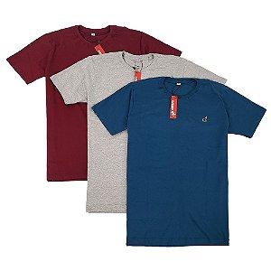 Kit Com 3 Camisetas Básicas Masculinas de Algodão Bamborra