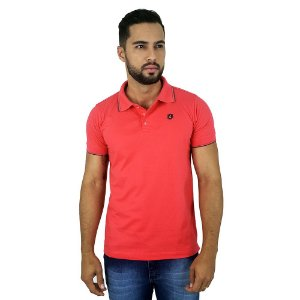 Camisa Polo Masculina Básica de Algodão Coral Bamborra