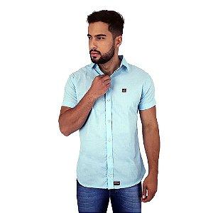 Camisa Social Masculina Manga Curta Azul Claro Bamborra