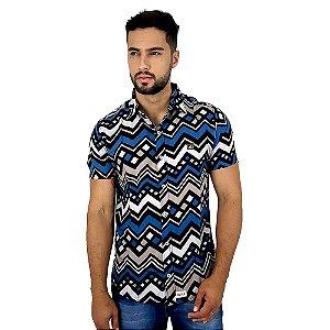 Camisa de Botão Masculina Com Estampa Geométrica Bamborra
