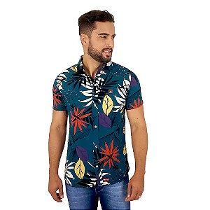 Camisa Social Florida Masculina Azul Escuro Bamborra