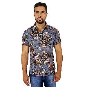 Camisa Casual Florida Masculina de Viscose Cinza Bamborra