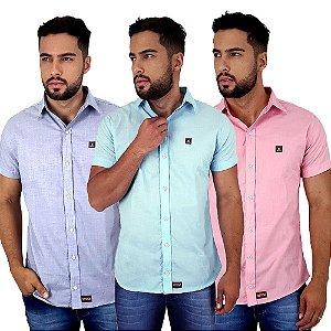 Kit Com 3 Camisas Sociais Masculinas Lisas Coloridas Bamborra