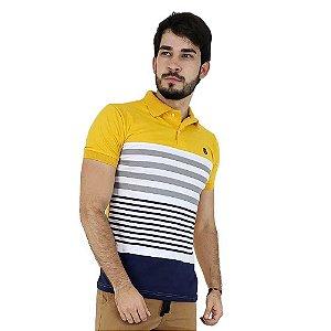 Camisa Polo Masculina Amarela Listrada Bamborra