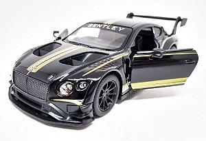 Bentley Continental GT3  Preto - Escala 1/38 - 12 CM