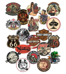 Adesivos Café Racer- Harley Davidson - Custom -Bobber - Chopper