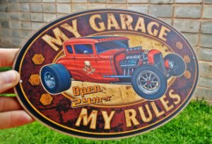 Placa Decorativa My Garage My Rules