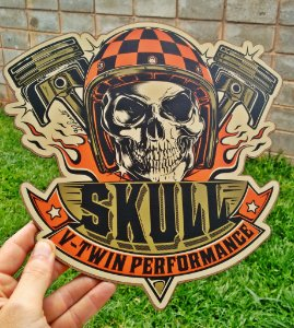 Placa Decorativa Skull V-Twin Performance
