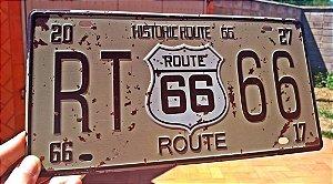 Placa Decorativa Route 66 em Metal