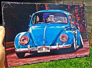 Placa Decorativa Volkswagen Fusca 20x30 em Metal