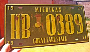 Placa Decorativa Michigan em Metal