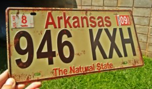 Placa Decorativa Arkansas em Metal