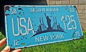 Placa Decorativa New York em Metal