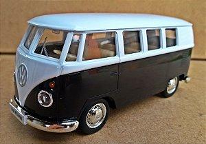 Volkswagen Kombi 1962 Preto/Branca - Escala 1/32 - 13 CM