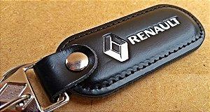 Chaveiro em Couro Preto Renault