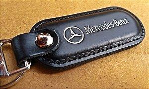 Chaveiro em Couro Preto Mercedes Benz