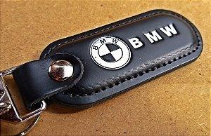Chaveiro em Couro Preto BMW