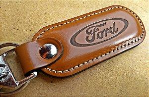 Chaveiro em Couro Marrom Ford