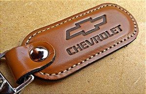 Chaveiro em Couro Marrom Chevrolet