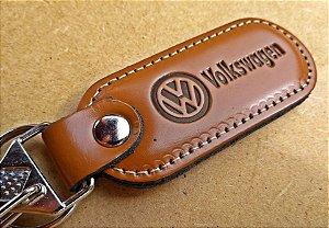 Chaveiro em Couro Marrom Volkswagen