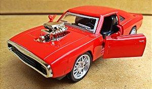 Dodge Charger 1970 Custom Vermelho - Escala 1/38 -12 CM