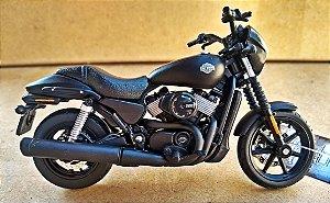 Harley Davidson Street 750 2015 Preta -  ESCALA 1/18 - 12 CM