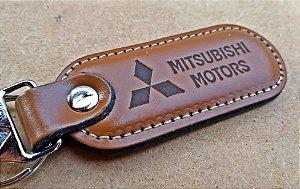 Chaveiro em Couro Marrom Mitsubishi