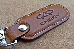 Chaveiro em Couro Marrom Cherry