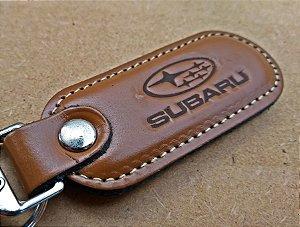 Chaveiro em Couro Marrom Subaru