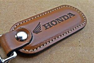 Chaveiro em Couro Marrom Honda (Motos)