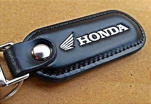 Chaveiro em Couro Preto Honda (Motos)