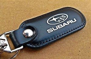 Chaveiro em Couro Preto Subaru