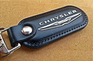 Chaveiro em Couro Preto Chrysler
