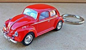 Volkswagen Fusca Vermelho - Chaveiro - Escala 1/64 - 06 CM
