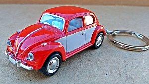 Volkswagen Fusca Vermelho/Branco - Chaveiro - Escala 1/64 - 06 CM