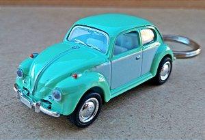 Volkswagen Fusca Verde/Branco - Chaveiro - Escala 1/64 - 06 CM