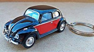Volkswagen Fusca Preto/Vermelho - Chaveiro - Escala 1/64 - 06 CM