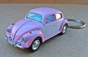 Volkswagen Fusca Rosa - Chaveiro - Escala 1/64 - 06 CM