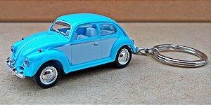 Volkswagen Fusca Azul/Branco - Chaveiro - Escala 1/64 - 06 CM
