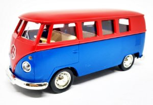 Volkswagen Kombi 1962 Vermelha/Azul - Escala 1/32 - 13 CM