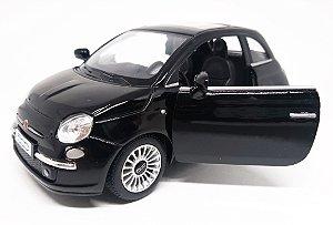 Fiat 500 2007 Preto - Escala 1/28 12 CM