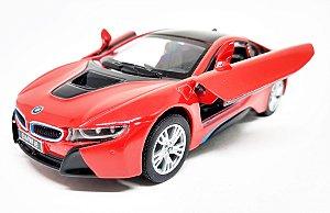BMW I8 Vermelha - Escala 1/36 - 12 CM