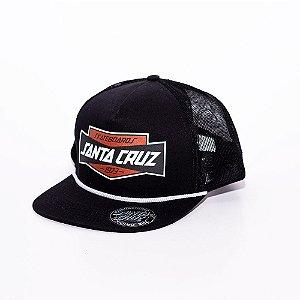 Boné Trucker Santa Cruz logo Preto