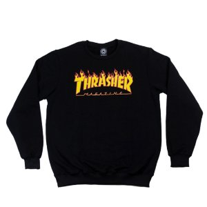 Moletom Thrasher Magazine Flame Logo Careca Black
