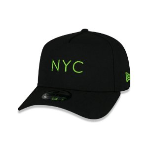 BONÉ NEW ERA  9FORTY A-FRAME SIMPLE SIGNATURE FLUOR NYC NEW YORK CITY BLACK