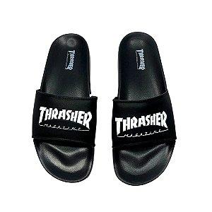 Chinelo Slide Thrasher Magazine Skate Mag Preto