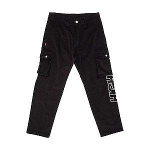 Calça Corduroy Cargo Pants Black High