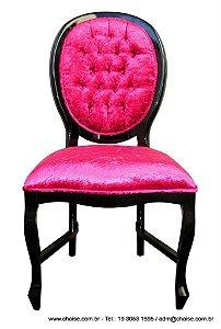Cadeira Medalhão Lisa - laca preta
